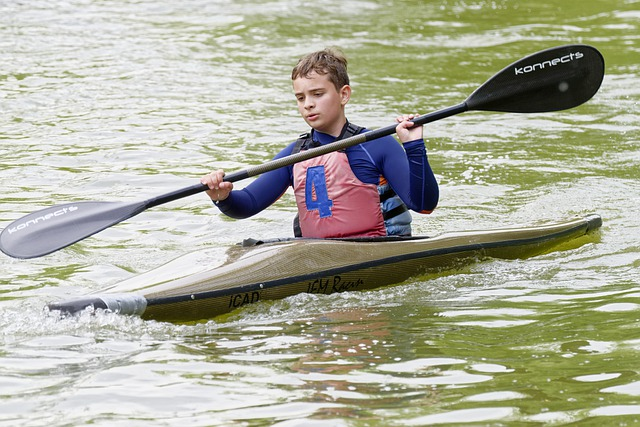 A kid in a kayak