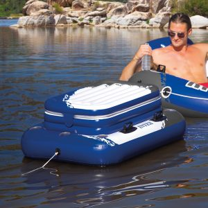 tubing with an inflatable floating cooler